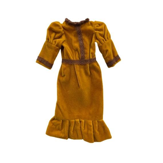 """Vintage Gold Velvet Dolls Dress 11"""""""
