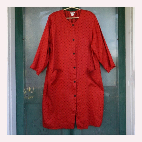 Tamotsu 1980s Bold Silhouette Dress -M- Red Linen/Cotton