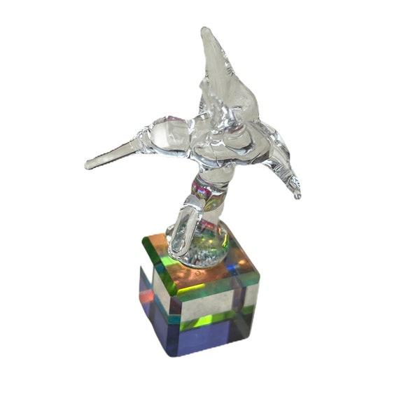 Lampwork Glass Hummingbird on Prismatic Cube