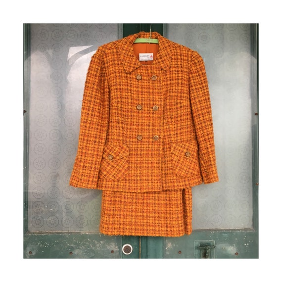 Vintage Bold Orange Tweed Jacket & Skirt Suit by Hanbury