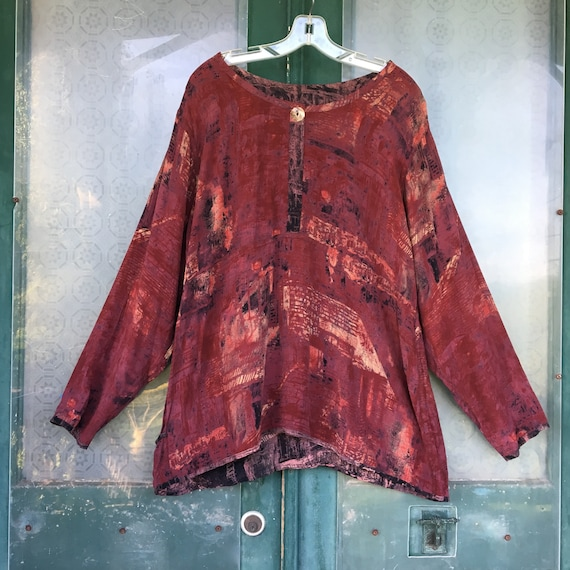 Angelheart Designs 1994 Reversible Rayon Oversized Swami's Shirt Abstract Maroon Rayon