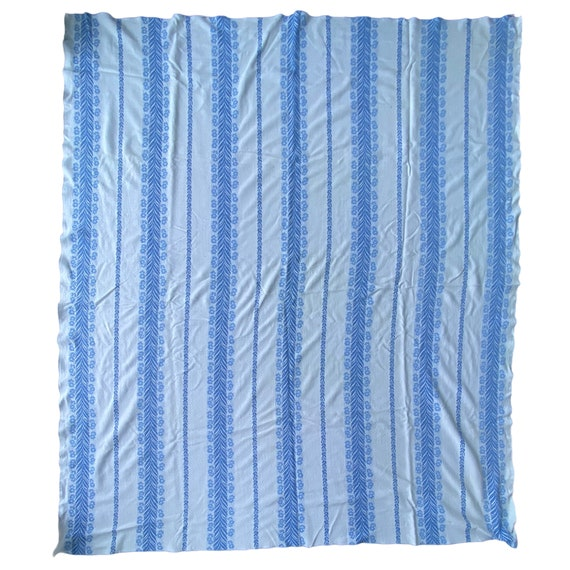 "Vintage Sky Blue & White Cotton Coverlet 88""x 78"""