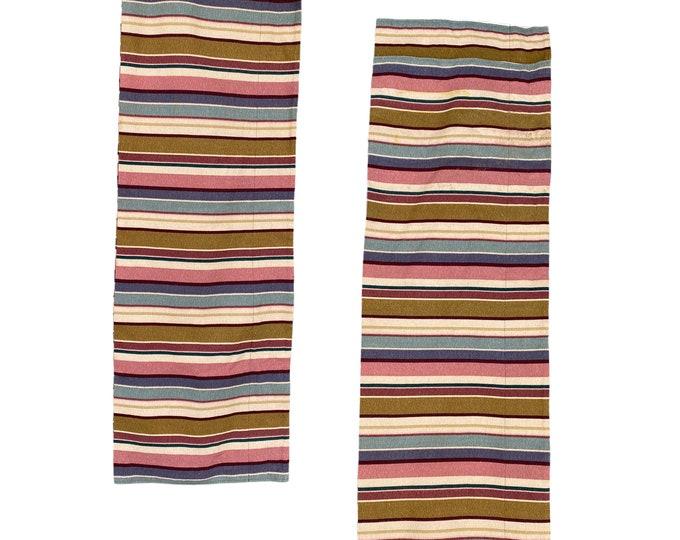 "Pair of 1980s Striped Bark Cloth Valance Panels 16"" x 104"""
