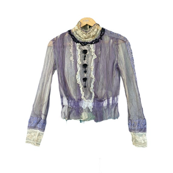 Victorian Lavender Mesh Lace Blouse with Black Beaded Trim
