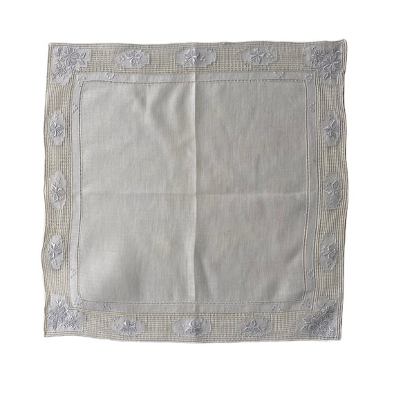 Vintage White Handkerchief with Elaborate Drawnwork Border