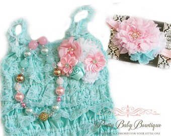 5d3ba7194d5e Girls First Birthday Outfit Baby Aqua Teal and Pink Headband Romper SET