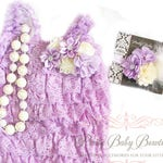 Baby Girl Lavender Lace Vintage Inspired Romper Headband Feathers Necklace SET, Ivory Cream Ruffled Romper, Cake Smash First Birthday Outfit