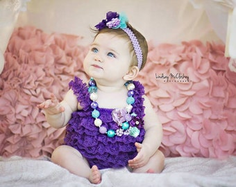 e8785b0ff0c6 Birthday Cake Smash Outfit Girl Purple Lace Romper Headband Necklace SET  Baby Pettiromper Baby Ruffle Romper Baby Outfit