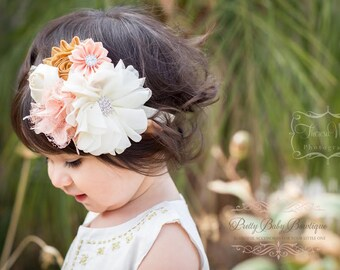 Baby Floral Headband - Baby Peach and Gold Flower Headband - Baby Holiday Headband - Baby Photo Prop - Baby Couture Headband