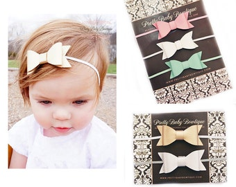 Leather Bow Headband Set- Set of 5 Bow Headbands - Baby Leather Bow Headbands - Girl Headbands
