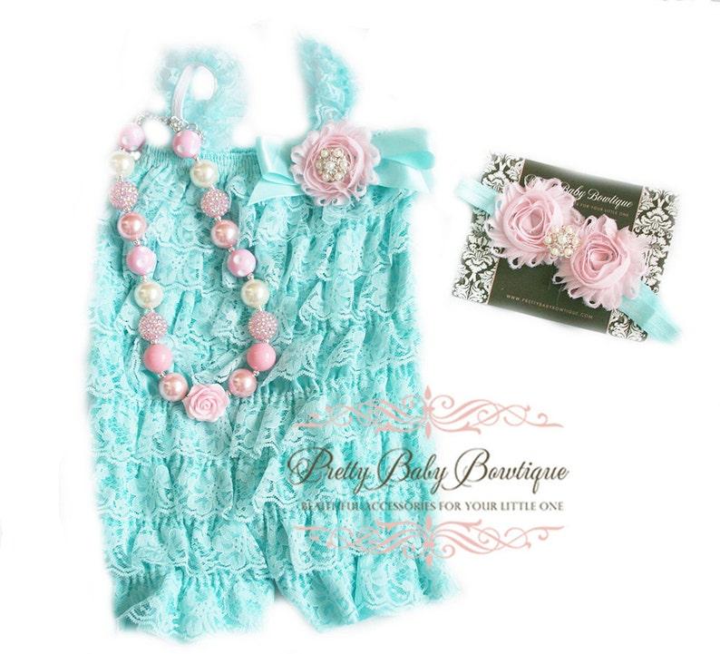 6ec39fb5edb4 Baby Romper Headband and Bubblegum Necklace SET Light Pink