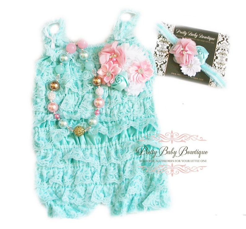 00b6715d13b0 Baby Lace Romper Floral Headband Necklace SET Baby Birthday