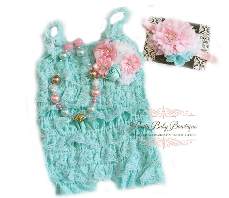 5711c8cbe0dd Girls First Birthday Outfit Baby Aqua Teal and Pink Headband