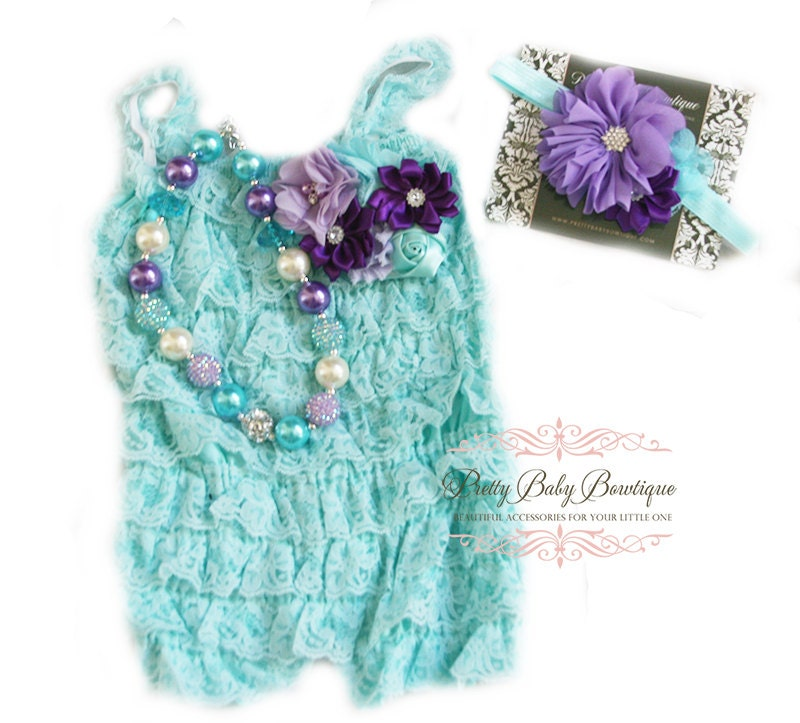 Cake Smash Birthday Girl Aqua Blue Teal Lace Romper Headband  141d1a6c26d8