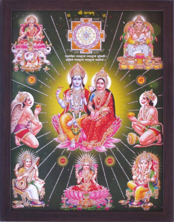Goddess Lakshmi with Lord Vishnu and other god worshiping ,Hindu Religious poster painting with frame, Must for every Pooja room and office
