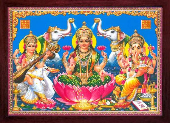 Must for Home//Office /& Home Decor Purpose. Handicraft Store Lakshmi Standing and Ganesha and Saraswati Sitting Poster Painting with Frame