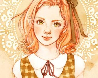 Schoolgirl - Watercolor Art Print 8 x 11 ( 21 x 29 cm )