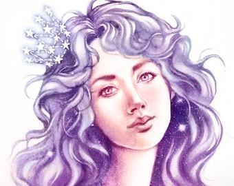 Crown of Stars- Art Print 8 x 11 ( 21 x 29 cm )