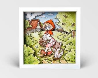 Diorama Little Red Riding Hood, 3D Print, Kokomo Frame, Fairy tale theatre