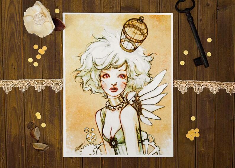 Steampunk Birdcage  Art Print 6 x 8 image 0
