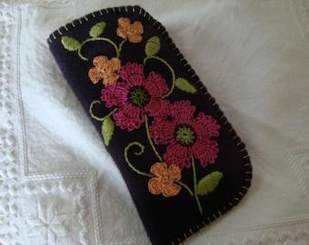 plum flower eyeglass case