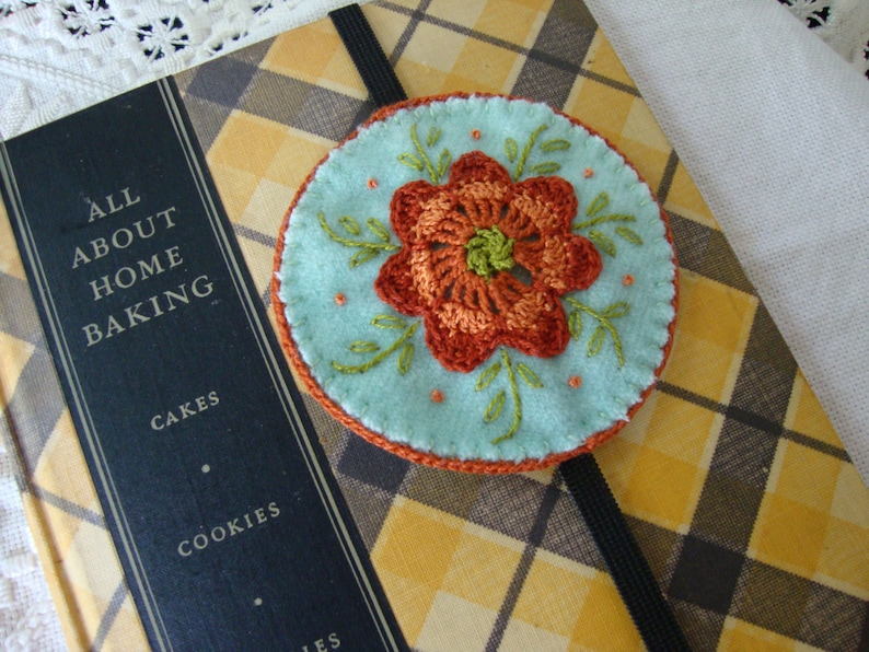 Pale Blue and Rust floral wool embroidered bookmark image 0