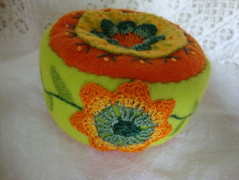 chartreuse and tangerine pincushion image 0