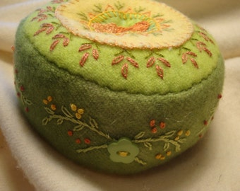 Pincushion in Greens