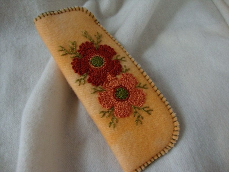 Rust flower reader eyeglass case image 0