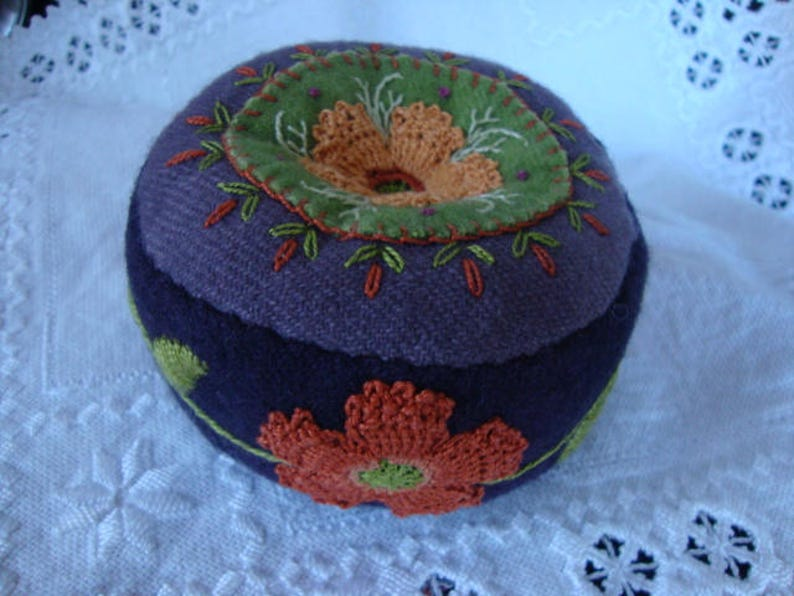 Eggplant and Russet shades pincushion image 0