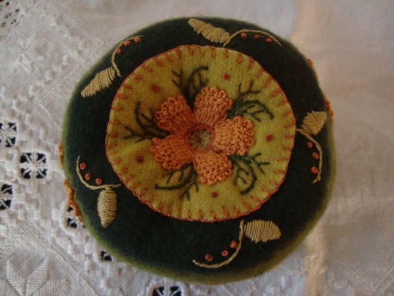 Moss greens and Apricot pincushion image 0