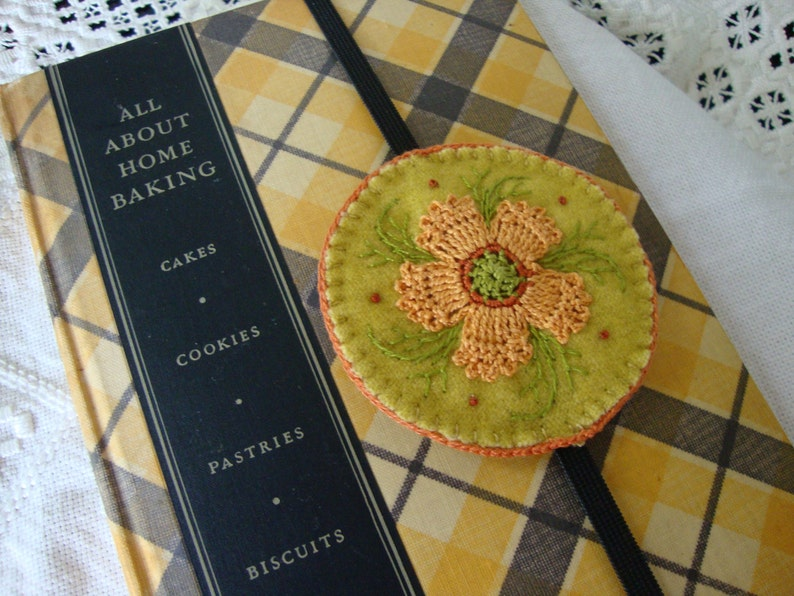 Lichen and Melon Floral Wool Embroidered Bookmark image 0