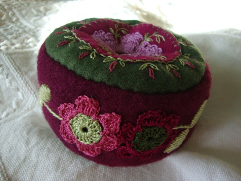 Blackberry and Orchid pincushion image 0