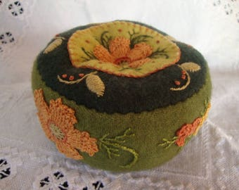 Moss greens and Apricot pincushion