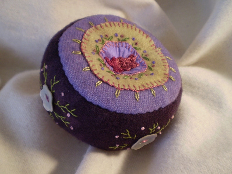 Deep Purple Pincushion with Shell Buttons image 0