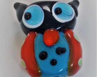 Hoot the Spotted Owl - Lampwork Bead