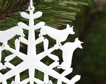 CORGI CHRISTMAS ORNAMENT - Corgi Snowflake Holiday Tree Ornament, Christmas gifts for corgi lovers, snowflake tree ornament