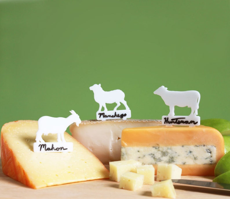 Writeable Cheese Markers  cow goat and sheep cheese labels image 0