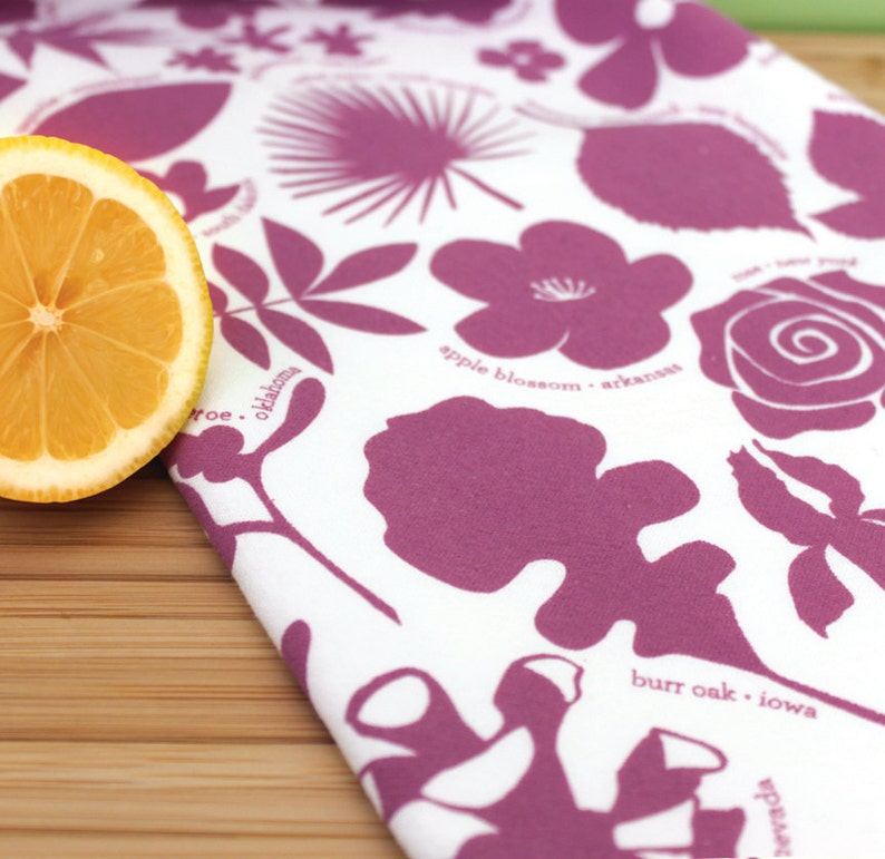 Flower kitchen towel botanical dish towel hostess gift ...