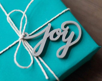 "Holiday Gift Tags, Christmas calligraphy package tag ""Joy"" set of 2 luxury gift tag for your Christmas gift wrapping"