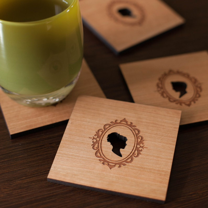 Wood coasters Victorian Classic Cameo Silhouette set of 4 image 0