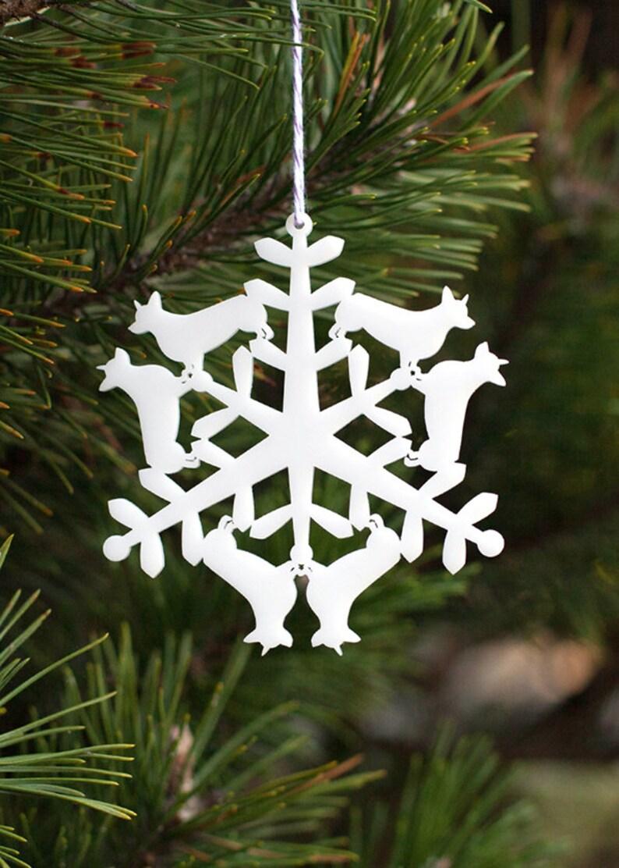 Corgi Christmas Tree Ornament  Corgi Snowflake Holiday image 0