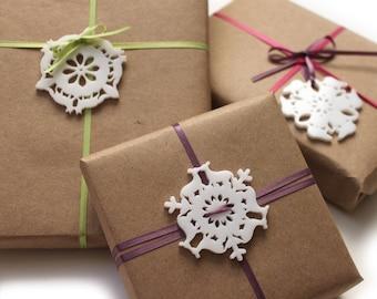Mini Christmas ornaments, set of 4 snowflake ornaments, woodland Christmas decorations, Holiday gift tags and tree ornaments, deer fox bear