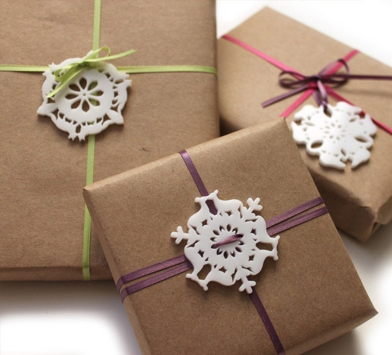 Mini Christmas ornaments set of 4 snowflake ornaments image 0
