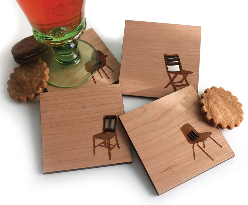 Mid century modern coasters set of 4 Wood Coasters  Chair image 0