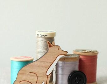 Fox Brooch - Hand painted wood pin - stocking stuffer fox