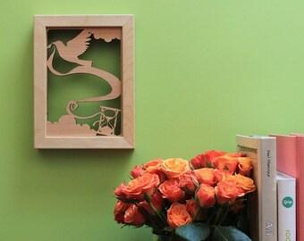 Time flies Bird wall art - 5x7 laser cut wood wall art print, 3d wall art, gifts under 25, illustrated art print
