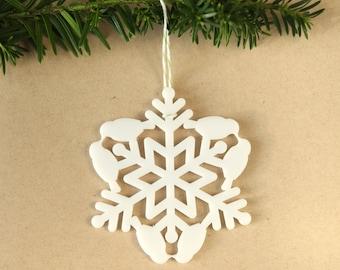 Bird Christmas Tree Ornament - Snow Bird Snowflake - love birds holiday ornament kissing birds Christmas gift, woodland Christmas decoration