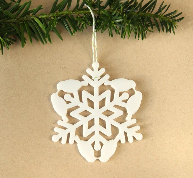 Bird Christmas Tree Ornament  Snow Bird Snowflake  love image 0