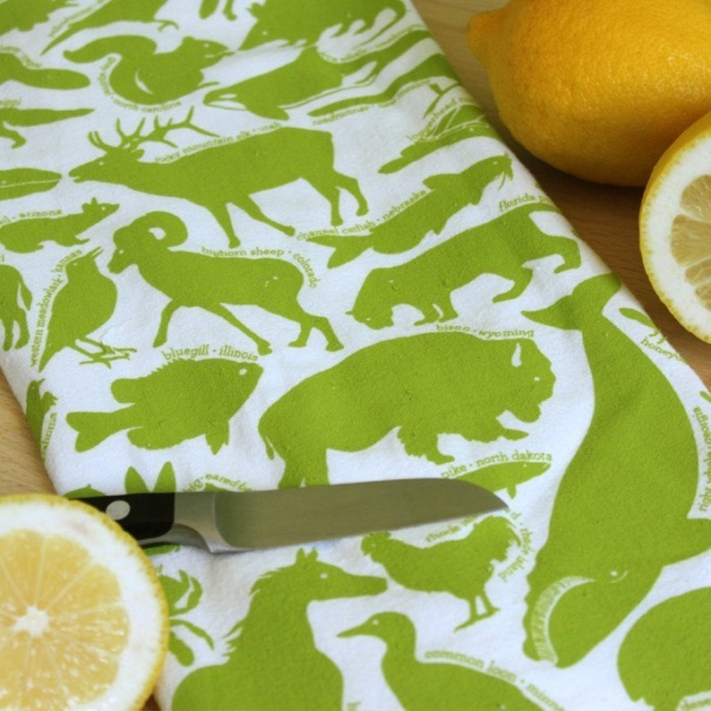 Kitchen Towel animal tea towel screen printed tea towel image 0